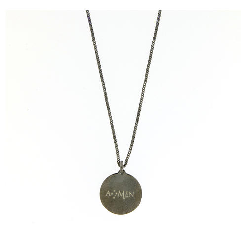 Amen necklace for men in silver finished in burnish Angel of God in latin 2