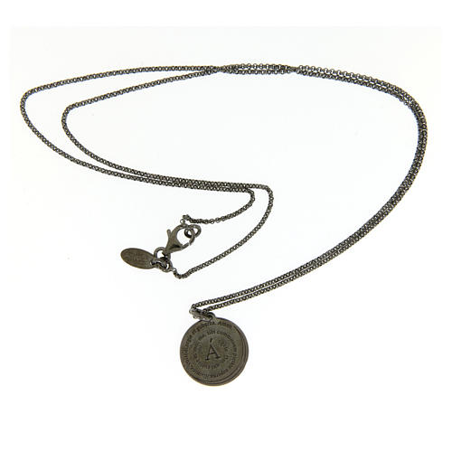 Amen necklace for men in silver finished in burnish Angel of God in latin 3