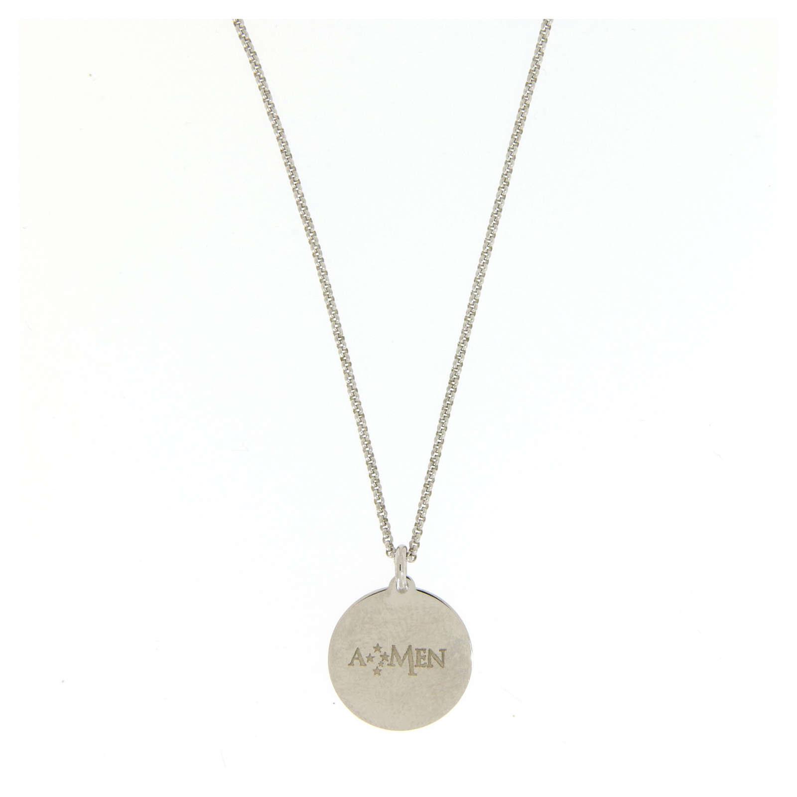 Collar Amen gargantilla hombre Ave María latín plata 925 4