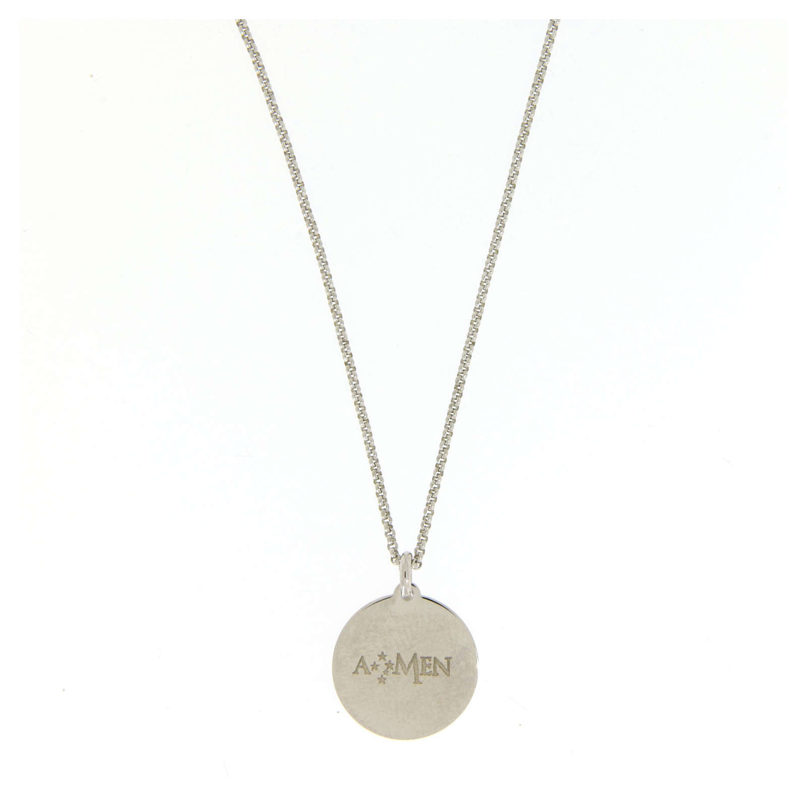 Amen necklace choker for men with Hail Mary prayer in latin in 925 sterling silver 4