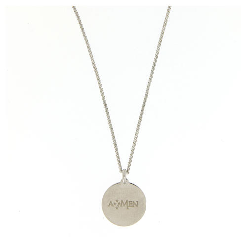 Amen necklace choker for men with Hail Mary prayer in latin in 925 sterling silver 2