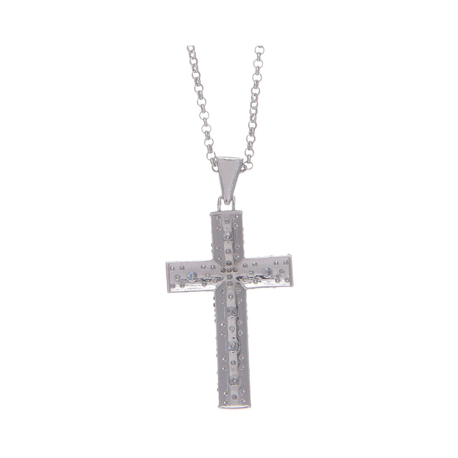 Collana Amen Croce Argento Rodiato zirconi bianchi 4