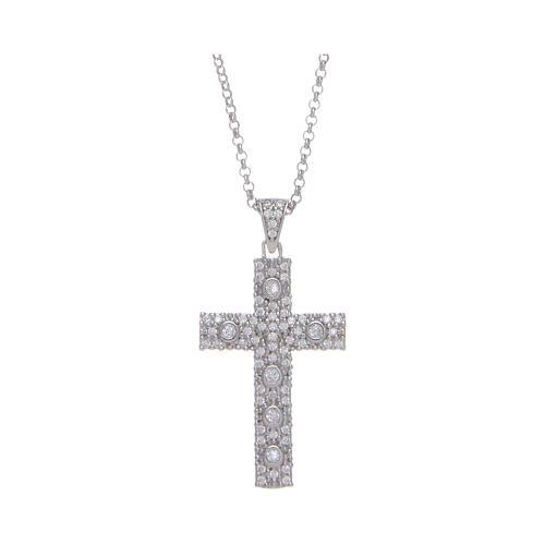 Collana Amen Croce Argento Rodiato zirconi bianchi 1