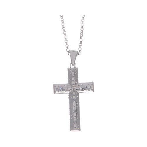 Collana Amen Croce Argento Rodiato zirconi bianchi 2