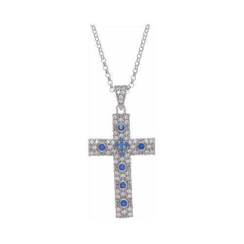 Collana Amen Croce Argento Rodiato zirconi Blu 1