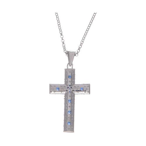 Collana Amen Croce Argento Rodiato zirconi Blu 2