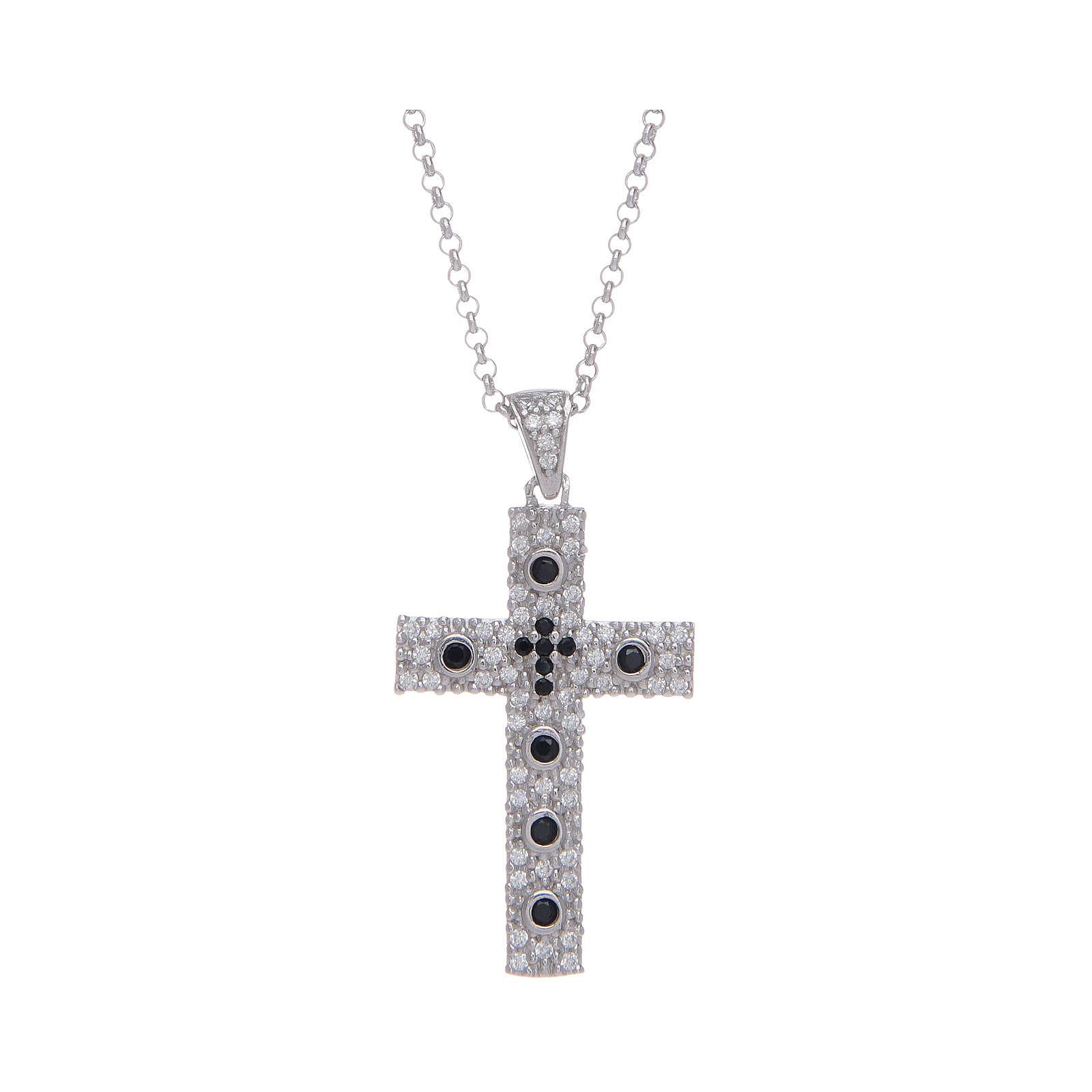 Collana Amen Croce Argento Rodiato zirconi Nero 4