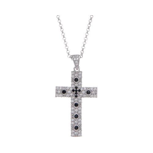 Collana Amen Croce Argento Rodiato zirconi Nero 1