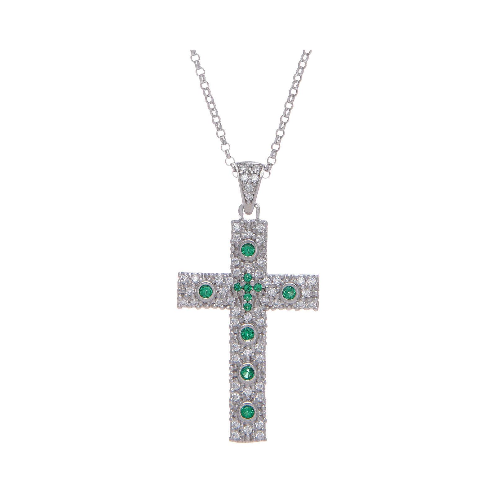 Collana Amen Croce Argento Rodiato zirconi Verdi 4