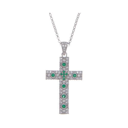 Collana Amen Croce Argento Rodiato zirconi Verdi 1
