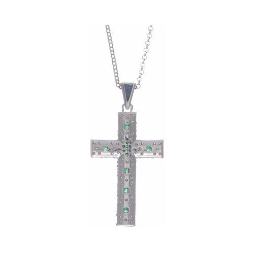 Collana Amen Croce Argento Rodiato zirconi Verdi 2