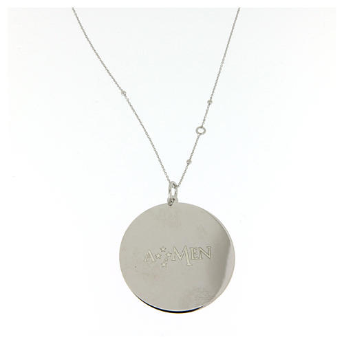 Amen necklace in 925 sterling silver with Hail Mary prayer 2