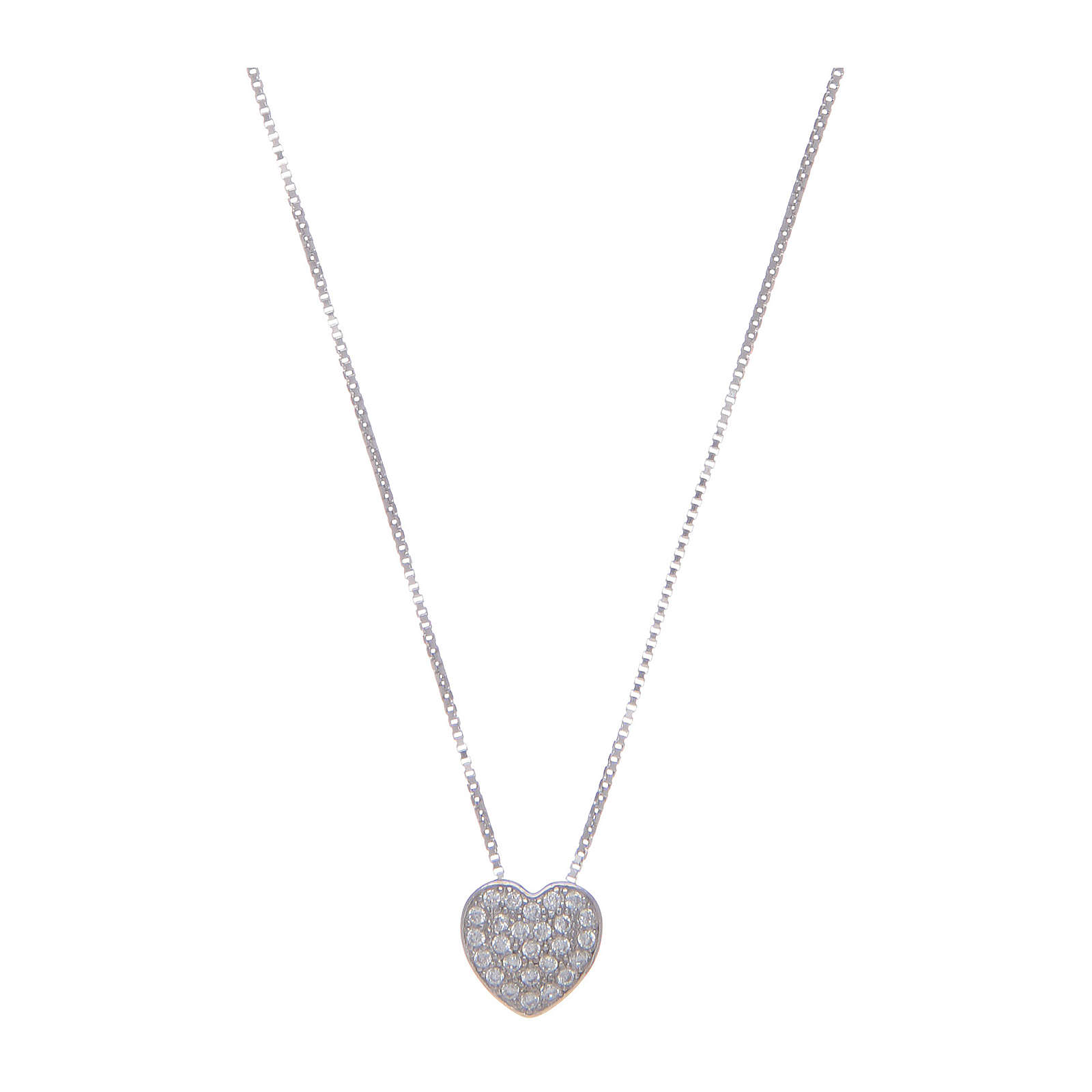 Amen necklace in 925 sterling silver with heart and zircons 4