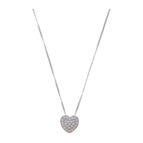 Amen necklace in 925 sterling silver with heart and zircons 1