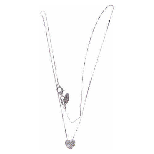 Amen necklace in 925 sterling silver with heart and zircons 3