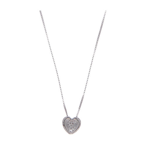 Amen necklace in 925 sterling silver with heart and zircons 2