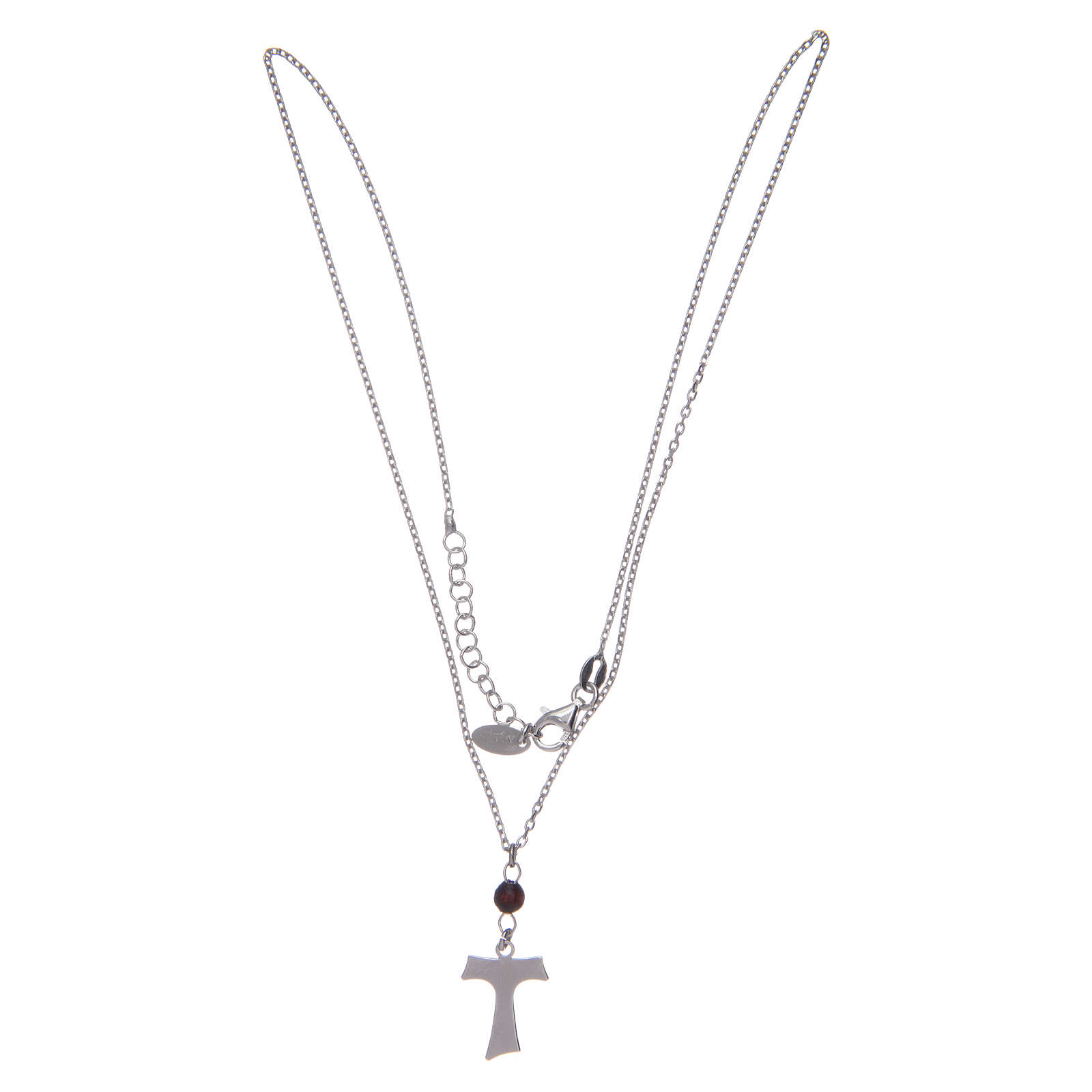 Amen necklace in silver and wood with Tau pendant 4