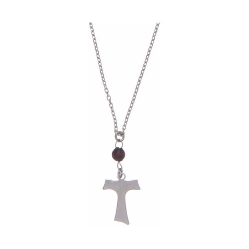 Amen necklace in silver and wood with Tau pendant 1