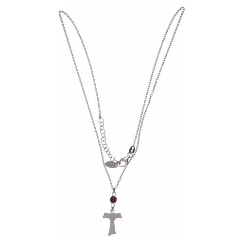 Amen necklace in silver and wood with Tau pendant 2