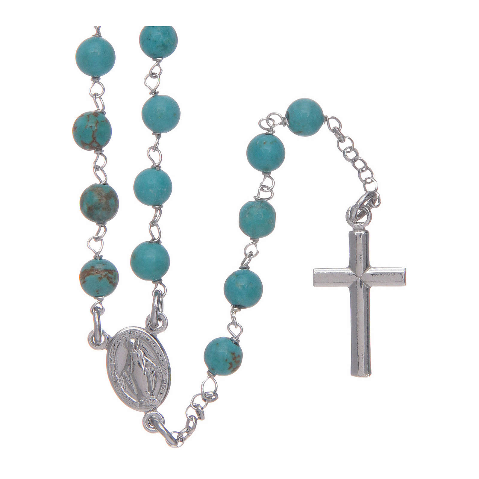 Collier chapelet Amen argent 925 turrquoise 4