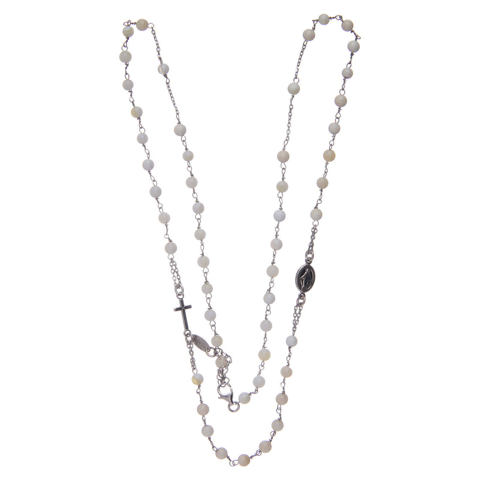 Amen rosary choker in 925 sterling silver and mother of pearl 4