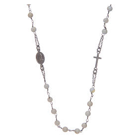 Silver rosary beads: Amen rosary choker in 925 sterling silver and mother of pearl