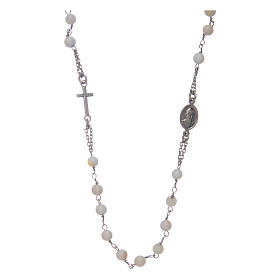 Amen rosary choker in 925 sterling silver and mother of pearl s2