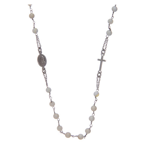 Amen rosary choker in 925 sterling silver and mother of pearl 1