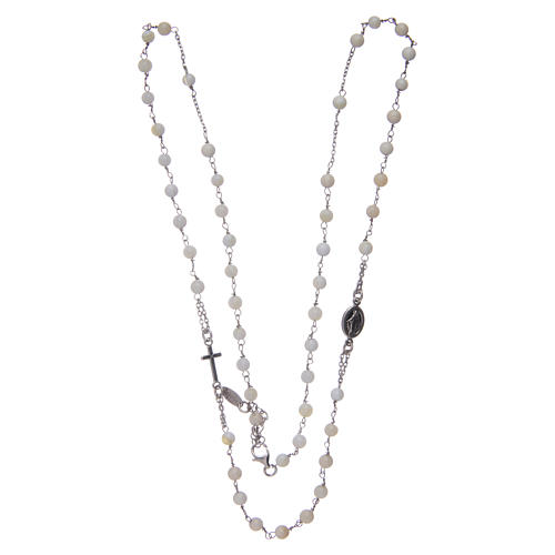 Amen rosary choker in 925 sterling silver and mother of pearl 3