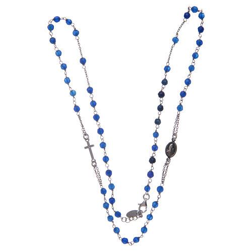 Collier chapelet Amen jade bleue et argent 3