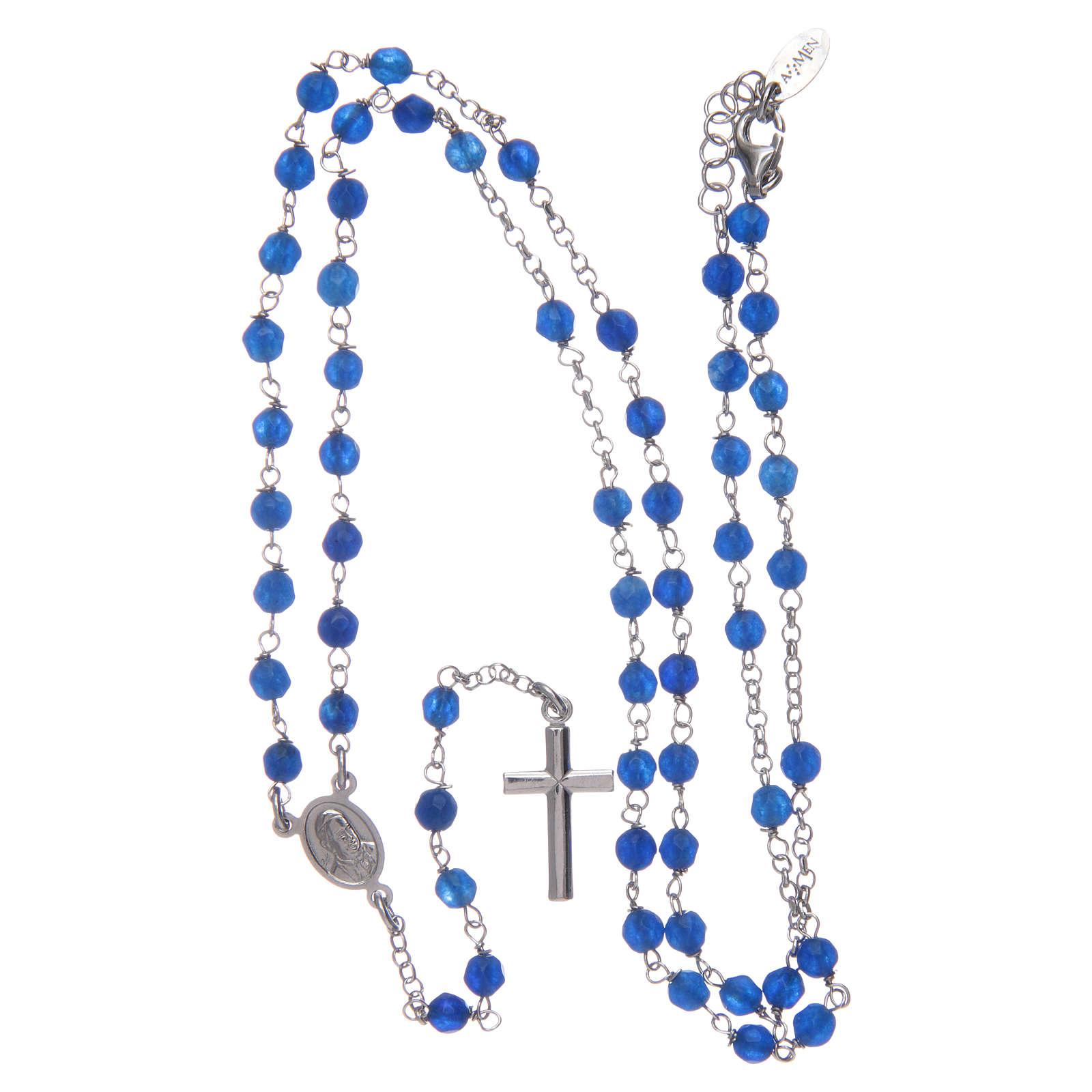 Collar rosario AMEN  Plata y jade azul 4