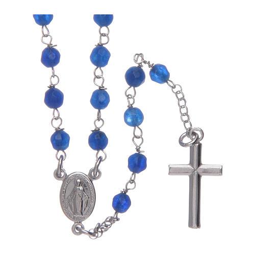 Collar rosario AMEN  Plata y jade azul 1