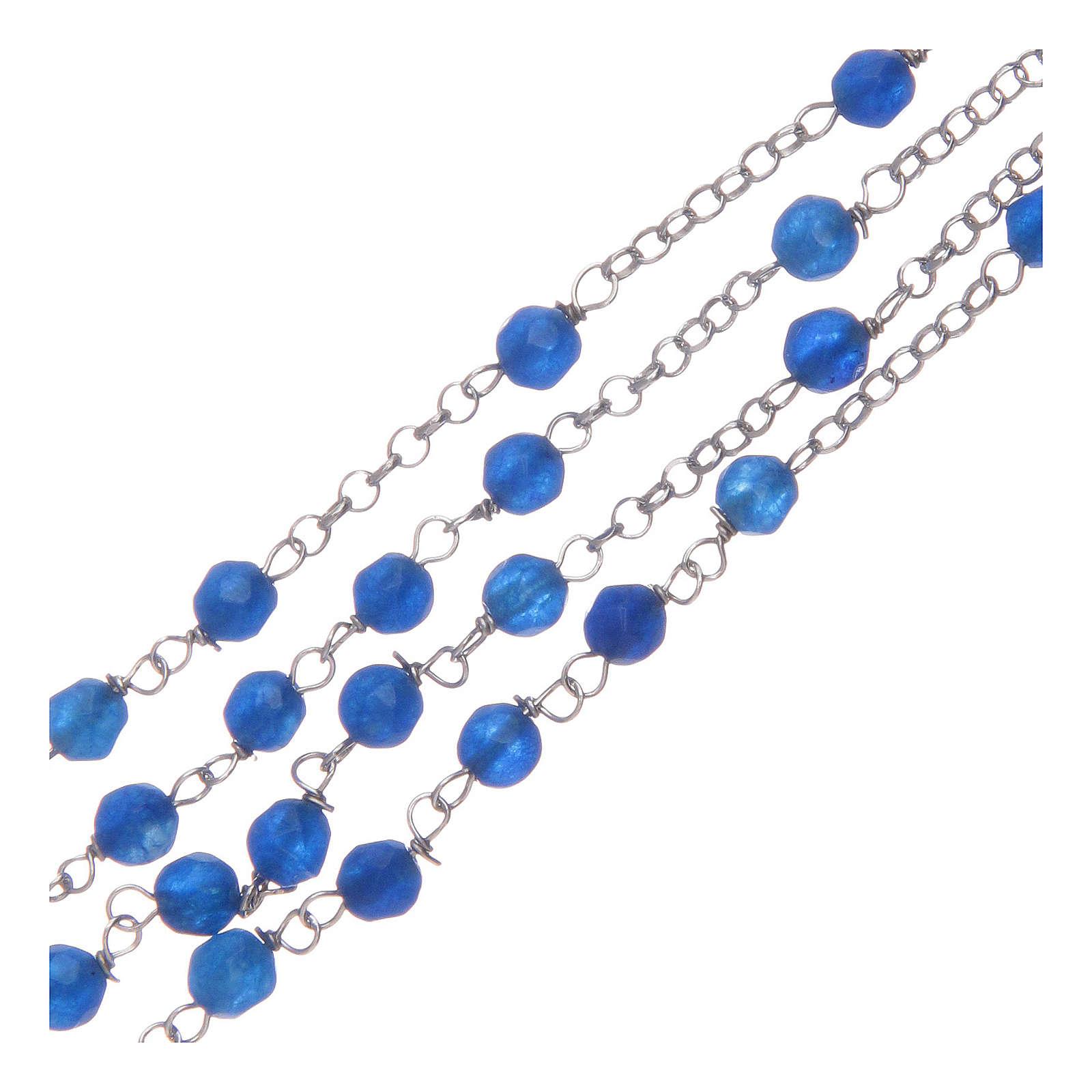 Collier chapelet Amen jade bleue et argent 4