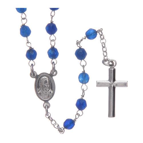 Collier chapelet Amen jade bleue et argent 2