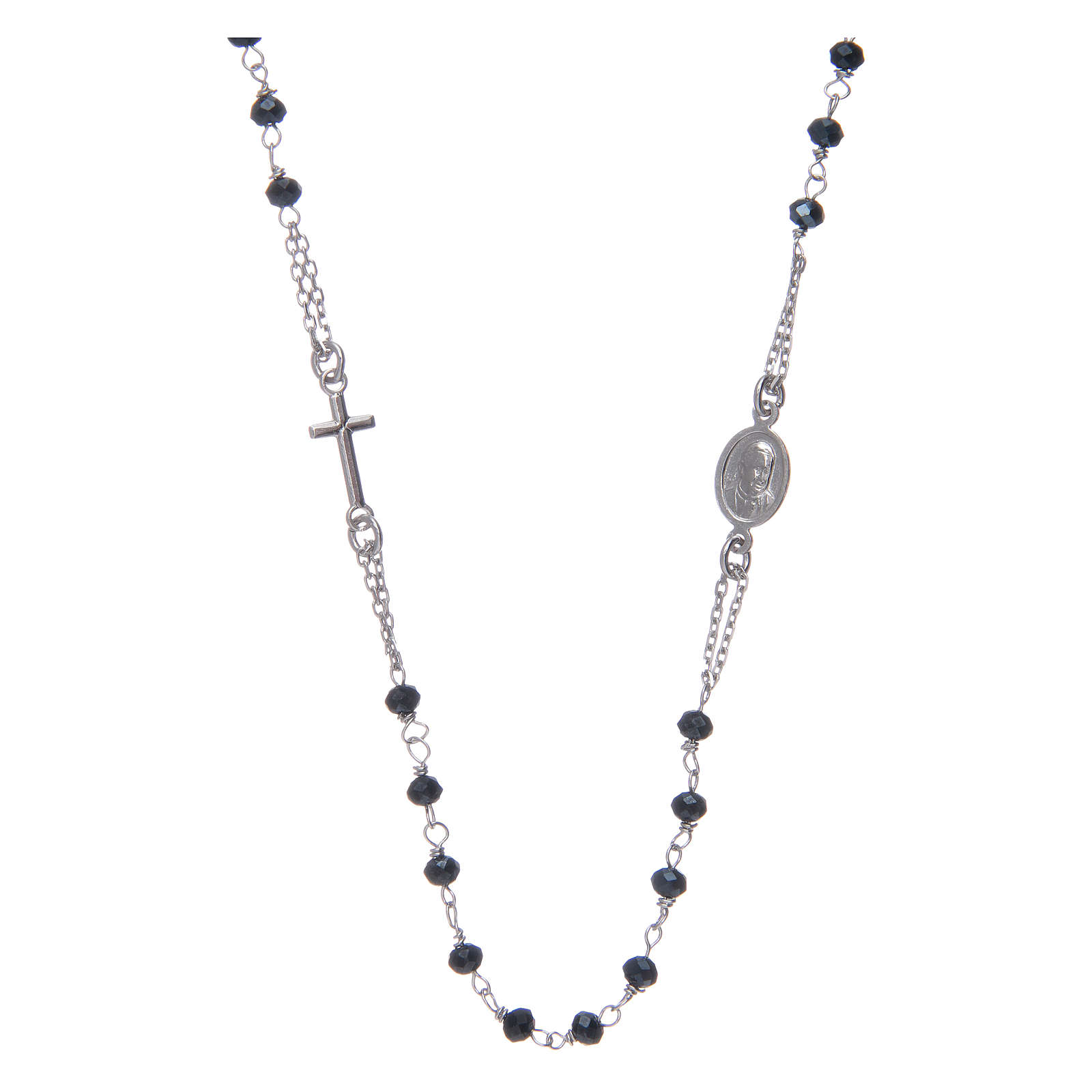 Amen rosary choker in 925 sterling silver and grey crystals 4