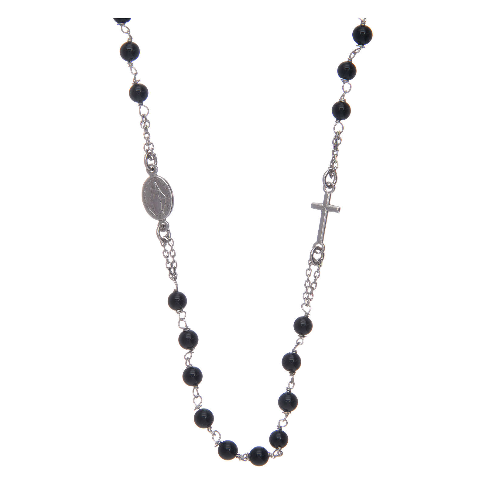 Amen rosary in silver and black agate 4