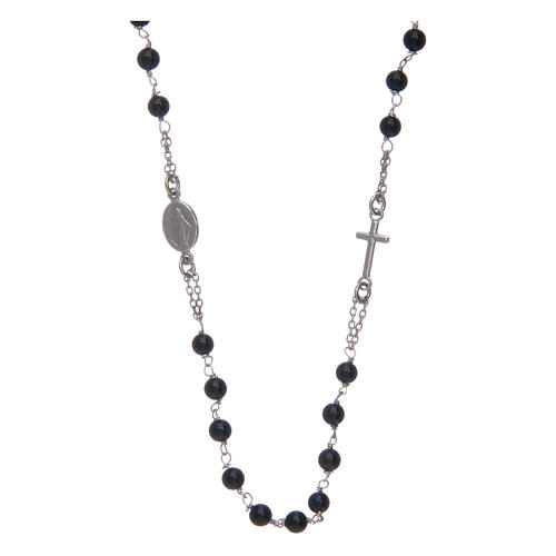 Amen rosary in silver and black agate 1