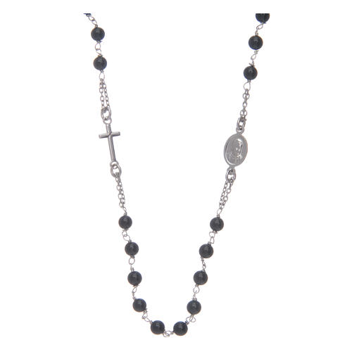 Amen rosary in silver and black agate 2
