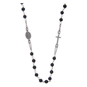 Amen rosary in silver and black agate s1