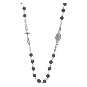 Amen rosary in silver and black agate s2