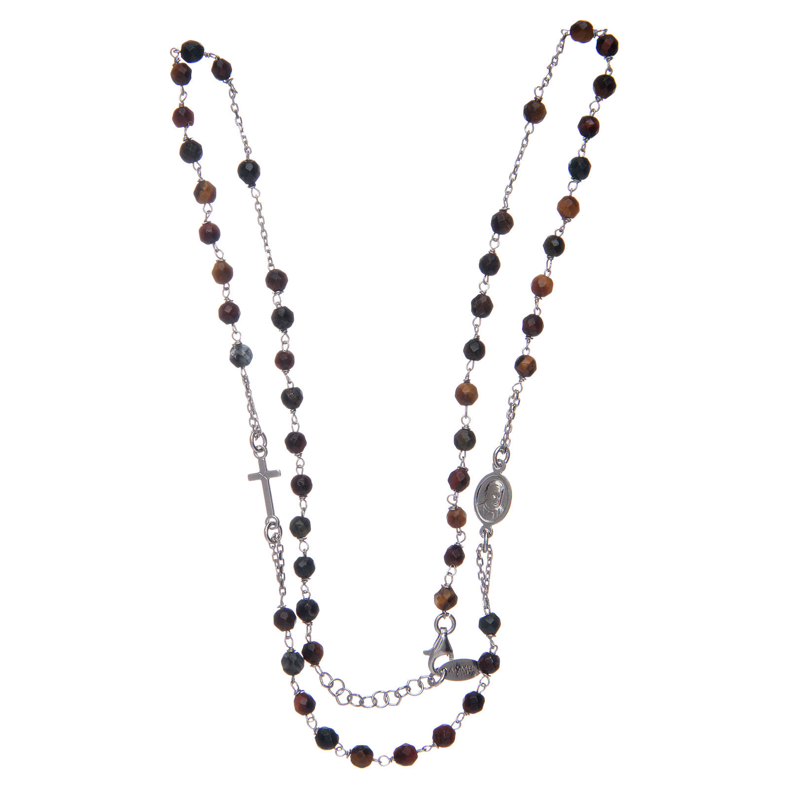 Collar rosario AMEN ojos de tigre 4