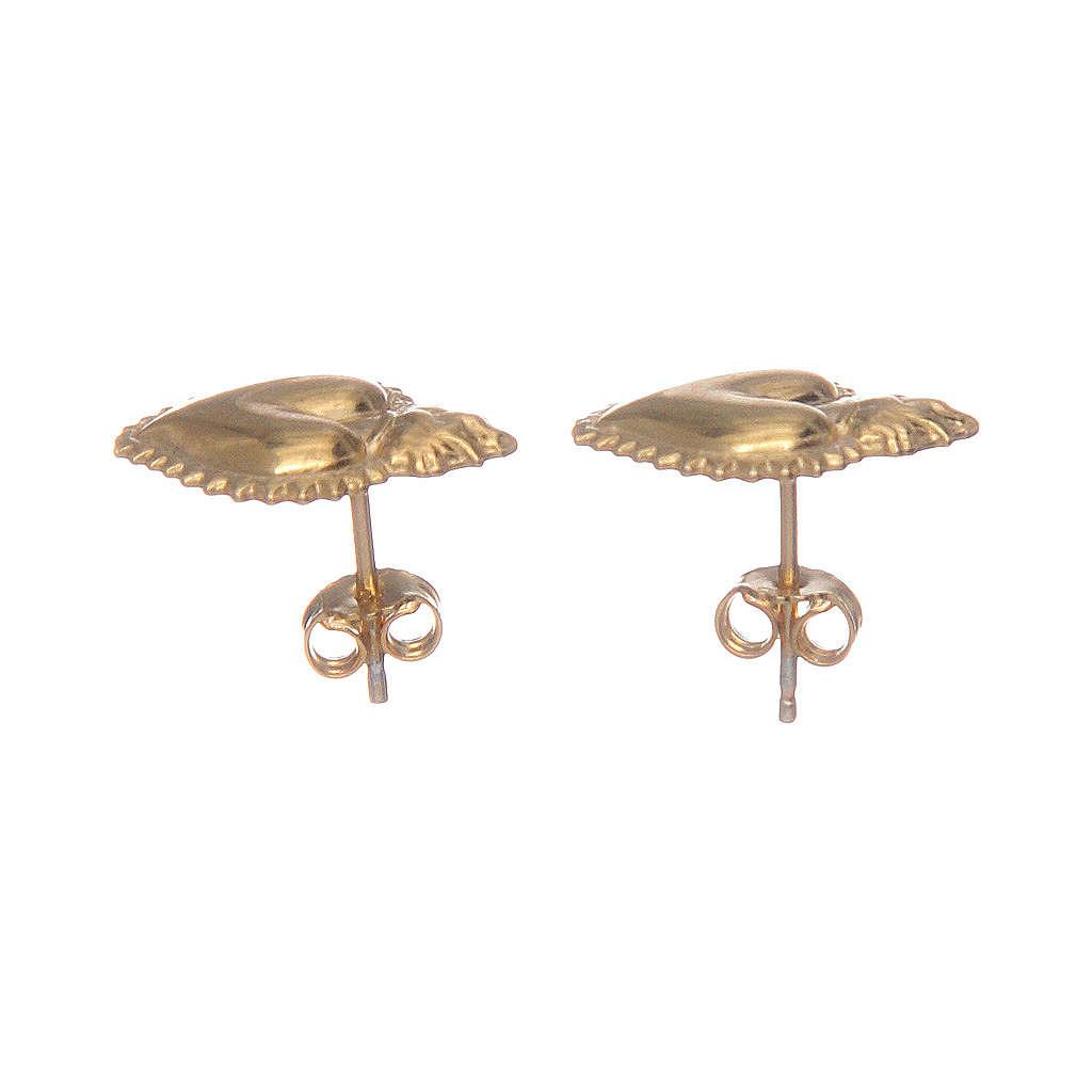 Orecchini cuore votivo argento 925 dorato 4