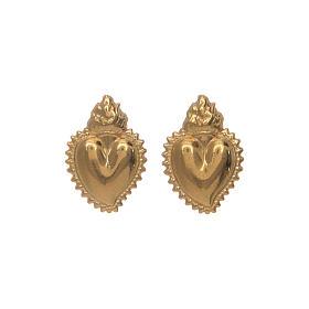 Orecchini cuore votivo argento 925 dorato s4
