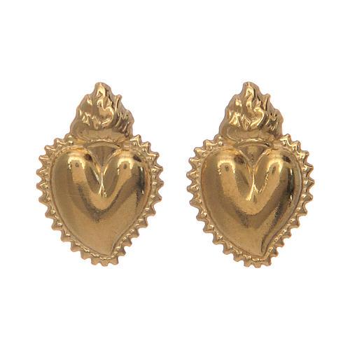 Orecchini cuore votivo argento 925 dorato 1