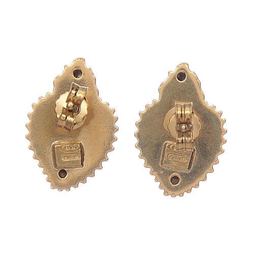 Orecchini cuore votivo argento 925 dorato 3