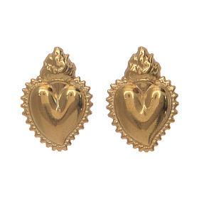 Pingentes, Cruzes, Broches, Correntes: Brincos coração ex-voto prata 925 dourada