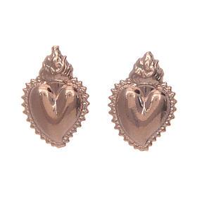Pingentes, Cruzes, Broches, Correntes: Brincos tipo botão coração ex-voto cheio prata 925 dourada