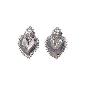 Pendientes con cierre a presión corazón votivo plata 925 s4