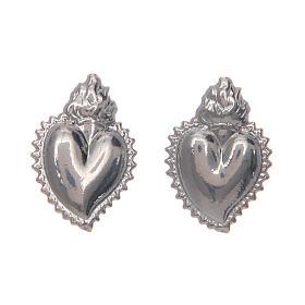 Pendientes con cierre a presión corazón votivo plata 925 s1