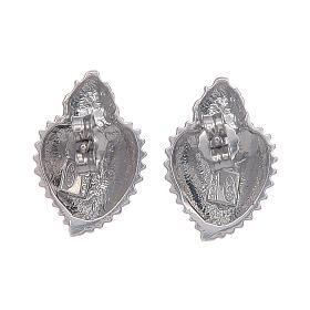 Pendientes con cierre a presión corazón votivo plata 925 s3